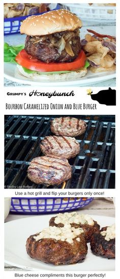 Bourbon caramelized onions and blue cheese smothering a nice juicy Angus Beef Burger  http://grumpyshoneybunch.com