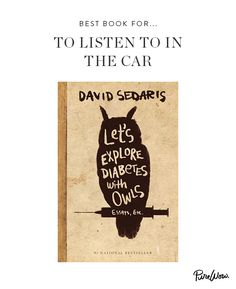 [To listen to in the car] Let's Explore Diabetes with Owls by David Sedaris Any David Sedaris essay is a pleasure. But it's only made better when the drawling, self-deprecating author reads it aloud. His tirade against litter might be his funniest rant yet.