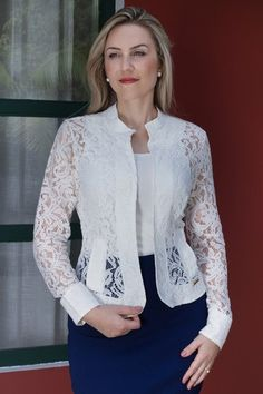 White Lace Blazer to Add to Your Clothes More Charming and Lace Blazer, Lace Jacket, Blouse Styles, Blouse Designs, Kinds Of Clothes, Clothes For Women, White Lace, Off White, Dress Patterns