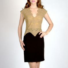 color block lace sleeveless dress - Gracia