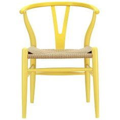 """LexMod C24 Wishbone Chair in Yellow by LexMod. $199.00. Sturdy construction. Solid wood frame. Fully assembled. This dining chair features traditional wood paired with modern design, resulting in a unique piece for your home. Overall Product Dimensions: 22""""L x 21.5""""W x 28.5""""H Seat Dimensions: 14.5""""L x 17""""H Armrest Height: 28""""H"""