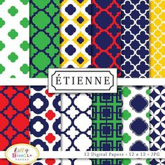 Etienne digital papers for scrapbooking cards by LillyBimble, $4.50...preppy chic