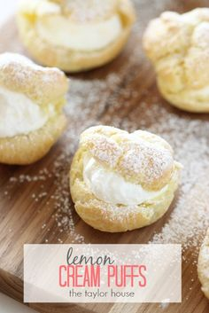 Delicious Homemade Cream Puffs with Lemon Whip Cream Filling.