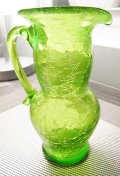 Vintage Green Crackle Glass Pitcher by GlossyStones on Etsy Glass Jug, Glass Pitchers, Milk Glass, Glass Bottles, Vintage Dishes, Vintage Glassware, Vintage Colors, Vintage Green, Crackle Glass
