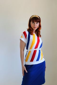 1970s Blouse Blue Red Yellow Stripes Office Fashion by gogovintage, $24.00