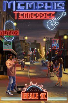 Memphis, Tennessee - Memphis at Night (Beale Street) - Version 2 - Lantern Press Poster