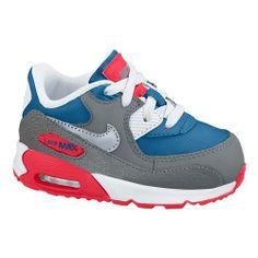 Nike Air Max 90 - Boys' Toddler - Running - Shoes - Military Blue/White/Laser Crimson/Metallic Silver