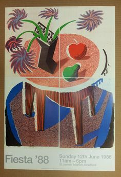 Bid now on Flowers, Apple and Pear on a Table by David Hockney. View a wide Variety of artworks by David Hockney, now available for sale on artnet Auctions. David Hockney, Illustration Photo, Illustrations, Illustration Styles, Exhibition Poster, Museum Exhibition, Pop Art Movement, Kunst Poster, Museum Of Contemporary Art