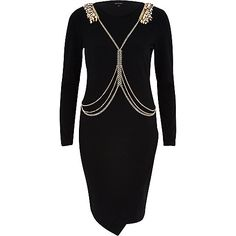 Black harness bodycon dress - bodycon dresses - dresses - women