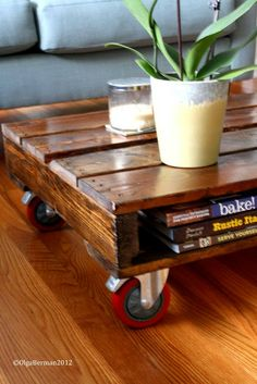 DIY with wooden pallets.  I would stack several to make a higher table but love this style also