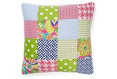 One Kings Lane - Preppy & Playful - Patchwork 20x20 Cotton Pillow, Multi