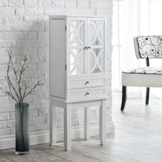 Belham Living Mirrored Lattice Front Jewelry Armoire - High Gloss White - Contemporary style and plenty of jewelry storage comes home with the Mirrored Lattice Front Jewelry Armoire - High Gloss White. Just the thing you nee...