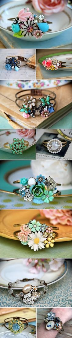 Vintage jeweled brooch bracelets (repurposed) by Tied Up Memories at etsy.com