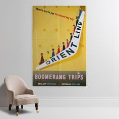 'Boomerang Fares To And From Australia' Wall Print - P&O Hertiage Collection | Shop Wall Prints & Wall Murals at surfaceview.co.uk