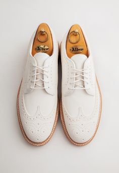 leffot:  Father's Day gift ideas: Alden x Leffot cream nubuck longwings, with or without brass eyelets