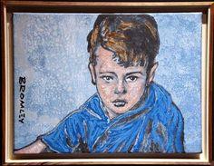 "DAVID BROMLEY ""Boy"" Original Acrylic on Canvas, Signed 46cm x 61cm & Framed"