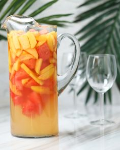 Cool off this summer with this refreshing tasting Watermelon Peach Sangria.