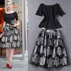 Online Shop new fashion woman 2014 black white Sweater high waist short skirt set knitted women rose flower Dress Hoodies & Sweatshirts|Aliexpress Mobile