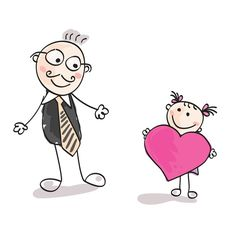 Big heart to father. Small girl give big heart to her father. Minnie Mouse, Disney Characters, Fictional Characters, Father, Daughter, Big, Illustration, Heart, Illustrations
