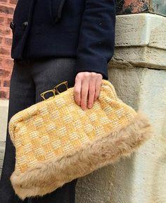 Maria La Rosa / bag glasses lapin in handwoven fabric (marlene apricot) by Maria La Rosa | petiteparis