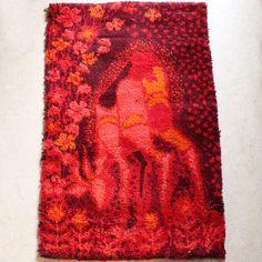 Anonymous, Deer Rya Rug, 1970s. Weaving Patterns, Textile Patterns, Textiles, Rya Rug, Retro Room, Retro Design, Rug Hooking, Floor Rugs, New Art