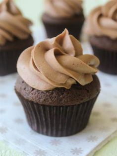 Dark Chocolate Cupcakes with Nutella Buttercream Just made these. I switched out the hot water for espresso. Amazing cupcakes!