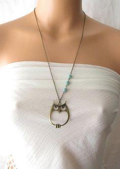 owl necklace, long necklace, owl jewelry necklace,   aqua green ladybug jewelry. $27.00, via Etsy.