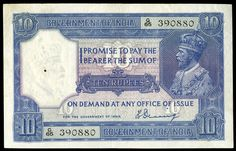 India, Government, Ten Rupees, signature of H. Denning (Razack-Jhunjhunwalla Pick Tiny hole in watermark, otherwise very fine Colonial India, India Map, Old Egypt, Vintage India, Old Money, Old Coins, Coin Collecting, History Facts, Correction Fluid