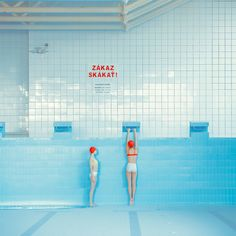 """Swimming Pool"" by artist Maria Svarbova. Pantone, Coffee Poster, Blue Aesthetic, Land Art, Retro Design, Film Photography, Amsterdam Photography, Wall Collage, Painting Inspiration"