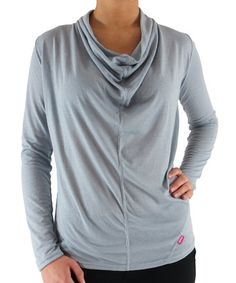 Plus Size Ryka Draped Space-Dye Tee Chrome Silver