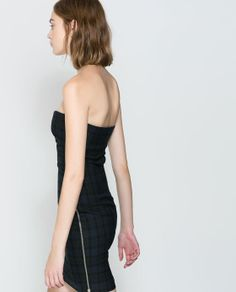 CHECKED TUBE DRESS WITH SIDE ZIP
