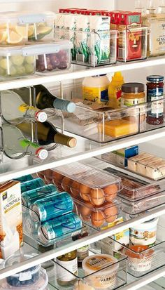 Clear containers for your fridge help you see what all you actually have in there. Plus they are pretty! Home Office Furniture Sets, Kitchen Store, Bar Cart, Coffee Counter, Home Kitchens, Kitchen Remodel, Appliances, Table, Design