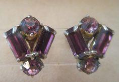 Vintage Purple Rhinestone Screw Back Earrings Signed Coro #Coro