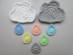 Cloud and Raindrops Crochet Pattern Applique by AddiesKnittedGifts