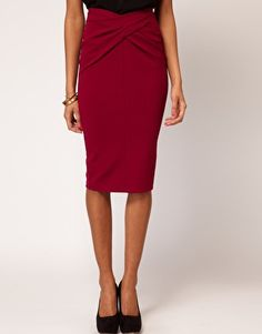 Enlarge ASOS Ponti Pencil Skirt with Twisted Waistband