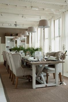 Love the chairs and dining table from Riviera Maison. The styling isn´t bad either..