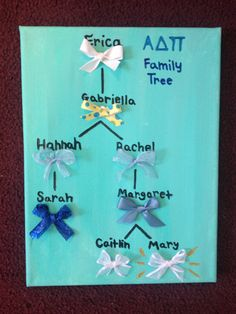 ADPi sorority family bow tree! The perfect pass down gift and reminder of how great our growing diamond family is in Alpha Delta Pi :)