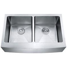 """AZ202 - 33"""" Stainless Steel Double Bowl Farmhouse Apron Kitchen Sink #Stone"""