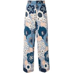 Chloe Floral Pants (1.085 BRL) ❤ liked on Polyvore featuring pants, bottoms, jeans, pantalones, kirna zabete, sale /, floral-print pants, blue wide leg pants, zip pants and floral printed pants