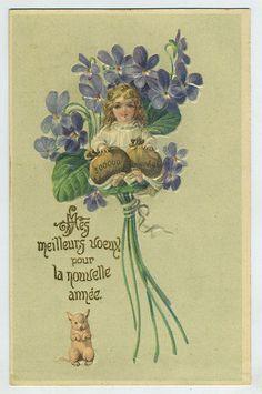embossed Angel Fantasy original old 1910s postcard a4