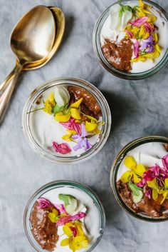 Chocolate Chia Mousse with Edible Flowers // the year In food