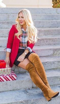 red jacket plaid shirt skirt brown boots