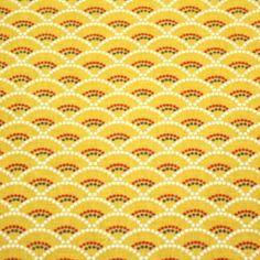 50x75 cm -tissu à motif japonais seigaiha vagues jaunes 100% coton