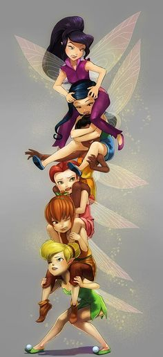 Tinkerbell and her fairy friends Disney Fan Art, Disney Love, Disney Girls, Disney Princess Drawings, Disney Drawings, Drawing Disney, Cartoon Cartoon, Disney And Dreamworks, Disney Pixar