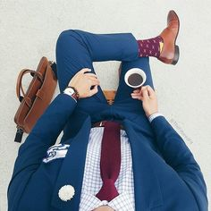 Men's Style - Men's Clothing - Outfit Men's - Blue Suit - Men - Red Tie