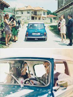 getaway car in a classic mini cooper #getawaycar http://www.weddingchicks.com/2013/12/16/wedding-in-northern-spain/