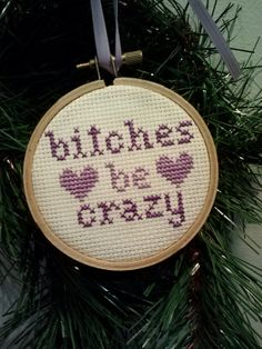 Funny Cross Stitch Christmas Ornament!