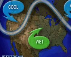 Forecast jet stream positions for Tuesday 5/6/15