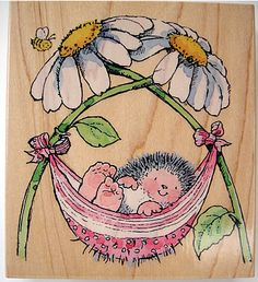 Wood mounted rubber stamp from Penny Black The Margaret Sherry Collection 1719K NAP TIME  Stamp size 9cm x 9cm Stamped image size 8cm x 7