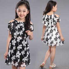 Grandes Vestidos Da Menina de Verão 2016 Nova Roupa Dos Miúdos das Crianças Flor vestido de Chiffon Princesa Vestidos de Meninas Crianças 10 11 12 13 anos